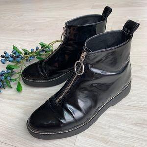 Zara woman zipper front patent booties size 38 (8)